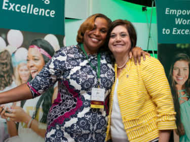 Joi Gordon, CEO of Dress for Success Worldwide, with Tiffany Street, Alpha Sigma Tau National President
