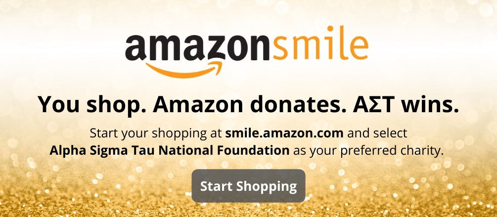 Background of gold glitter with AmazonSmile logo and text stating,