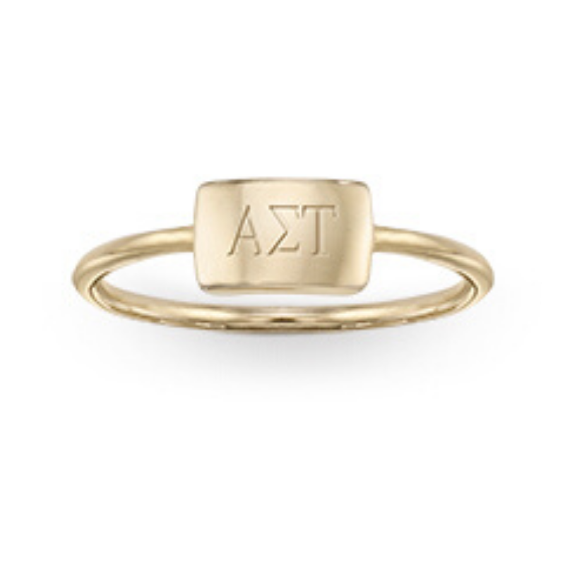 Image of gold Alpha Sigma Tau ring, available from Herff Jones