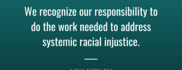 "Graphic that states, ""We recognize our responsibility to do the work needed to address systemic racial injustice."""