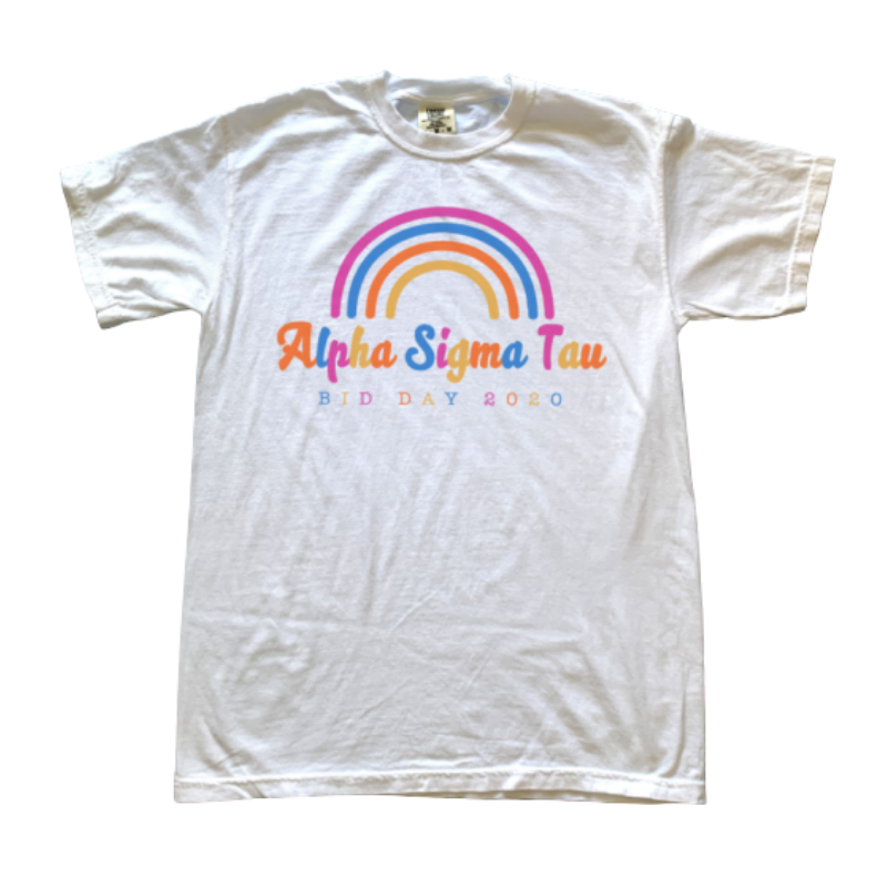 White tee with rainbow that says