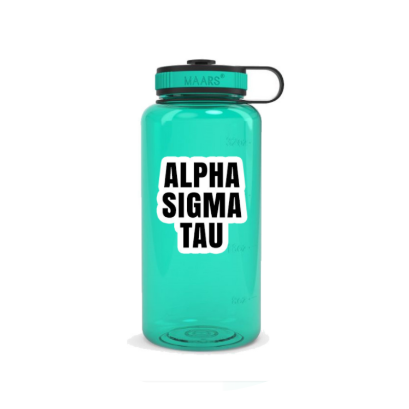 Green translucent water bottle with Alpha Sigma Tau written in black and white block letters.