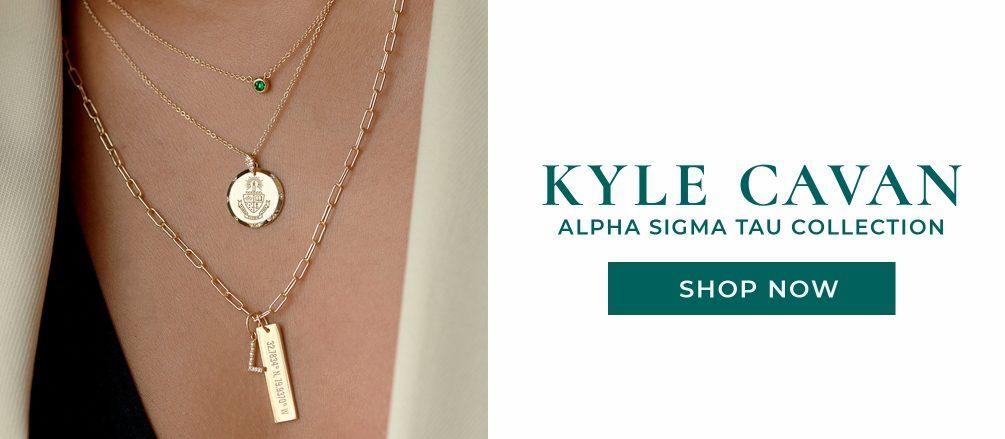Kyle Cavan Alpha Sigma Tau Collection. Shop Now. Image of golden necklace
