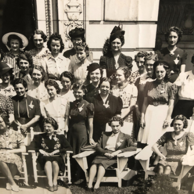 Large group of women standing outside together, posed, at an Alpha Sigma Tau Convention in 1939.