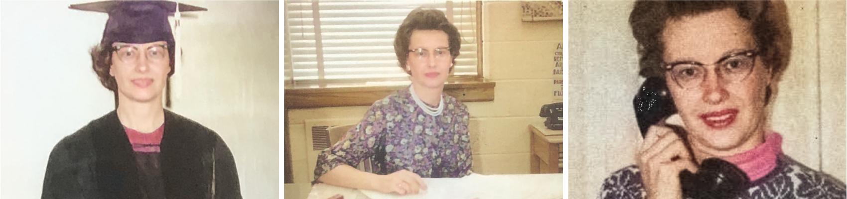 Three photos of Rose Marie Schmidt over her lifetime: graduation, career, holding a phone